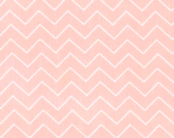 Fabric by the Yard Dear Stella Zig Zag Shell Pink Cotton Quilting Fabric Peach Chevron Whimsical Geometric Print Crafting Home Decor