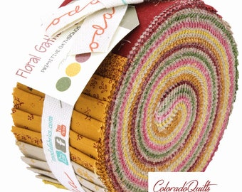 Moda Fabrics Jelly Roll Strips Cotton Quilting Fabric Floral Gatherings Primitive Gatherings Precut Traditional Reproduction Civil War Gold