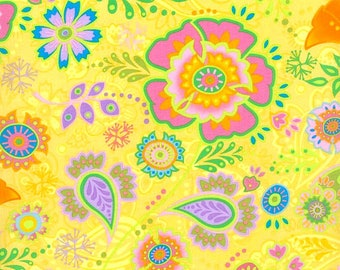 Fabric by the Yard RJR Fabrics Bloom Crazy Yellow Jacobean Print Quilting Fabric Cotton Floral Pattern Sewing Whimsical Unique Girl