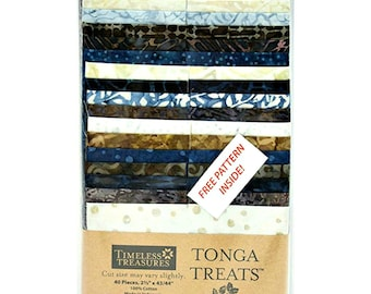 Tonga Treats Batik Two-and-a-Half Inch Strips Jelly Roll Rockport Timeless Treasures Cotton Quilting Fabric Precut Abstract Print Blue Cream