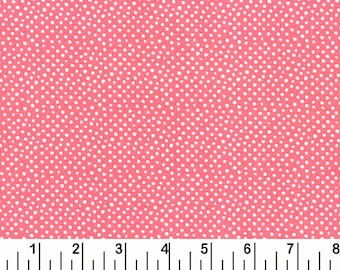 Dear Stella Mini Confetti Dots Fabric by the Yard Coral Cotton Quilting Fabric Pink Whimsical Polka Dot Nursery Baby Girl Crafting Home Dec