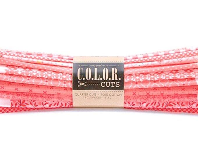 Moda Fabrics Color Cuts Fat Quarter Fabric Bundle Daybreak Coral Peach Cotton Quilting Precut Crafting Home Decor