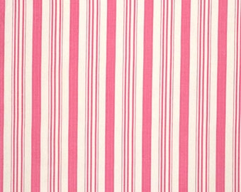 Fabric by the Yard Tanya Whelan Free Spirit Fabrics Barefoot Roses Pink Stripe Cotton Quilting Fabric Cream Ivory