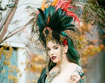 Sale 10% off Red Queen Feathered Kokoshinik Headdress OOAK