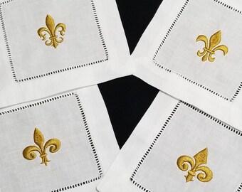 Gold Fleur de lis white hemstitch linen fabric Cocktail Napkins, reusable/washable beverage party napkin, fleur de lis embroidery, nola gift