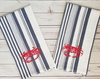 Boiled Louisiana Blue Crab Kitchen Towel, Red crab on blue stripe woven cotton dish towel, New Orleans gift, personalized w/name or saying