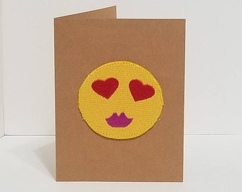 Emoji Purple Lips Embroidered Greeting Card