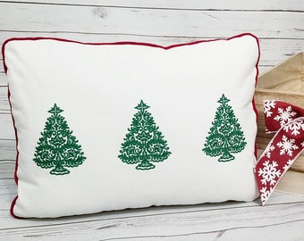 Christmas Tree Trio embroidered Pillow with Red Velvet Trimmed Piping, Green Vintage Lace Christmas Tree's style pillow gift, Personalized