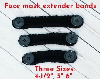 Black crochet mask extenders, face mask comfort band, ear saver, mask mate extender band, ear relief band in 4-6in, black w/black buttons
