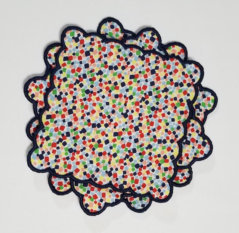 Cocktail Napkins in a fun & festive Confetti fabric print with image 0