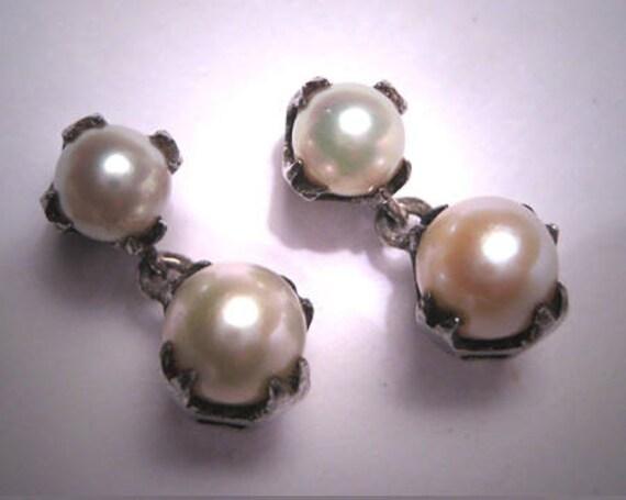 Antique Pearl Dangle Drop Earrings Art Deco Vintag