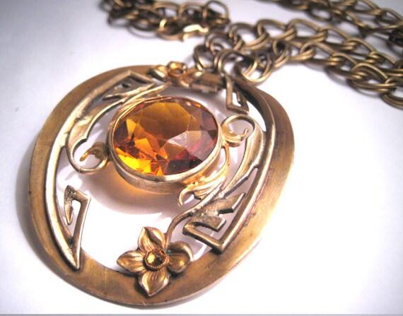 Antique Victorian Citrine Paste Necklace Art Nouve