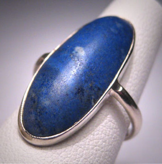 Antique Lapis Ring Victorian Arts and Crafts Whit… - image 1