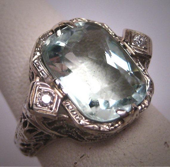 Vintage Aquamarine Diamond Ring Estate Art Deco Antique Etsy