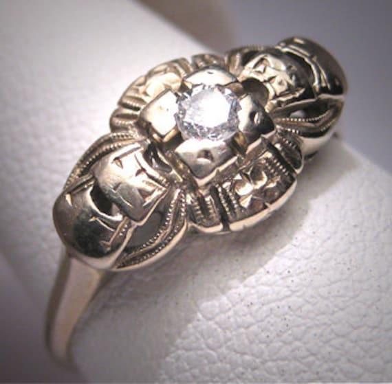 Antique Diamond Wedding Ring Victorian Art Deco Vi