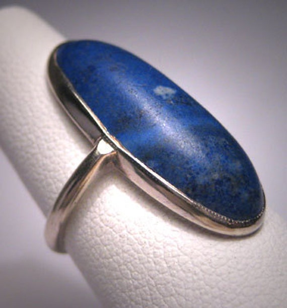 Antique Lapis Ring Victorian Arts and Crafts Whit… - image 4