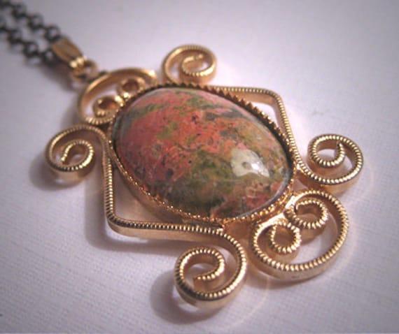 Antique Rhodochrosite Filigree Necklace Vintage Ar