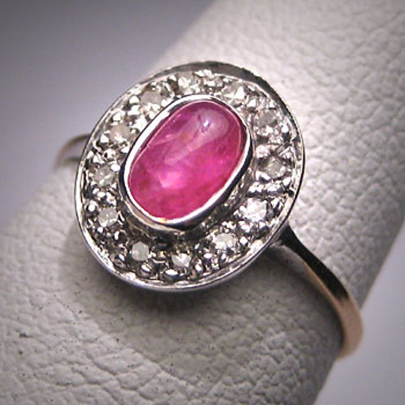 Antique Victorian Ruby Diamond Ring Vintage Weddin