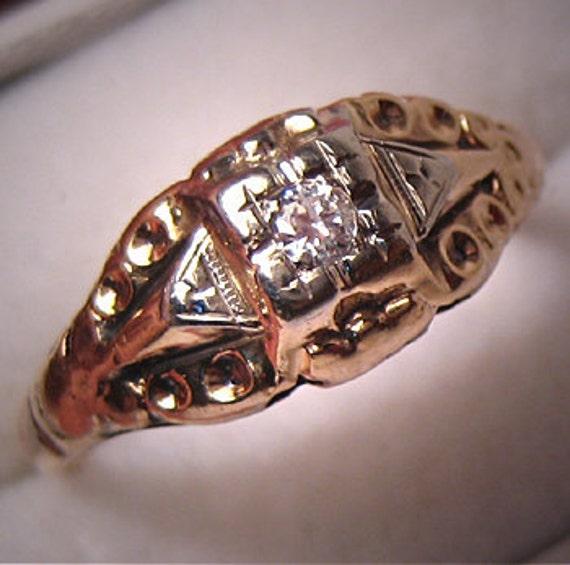 Antique Diamond Ring Euro Cut Wedding Ring Victori