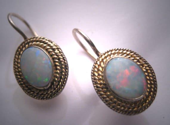 Vintage Australian Opal Earrings Victorian Georgia