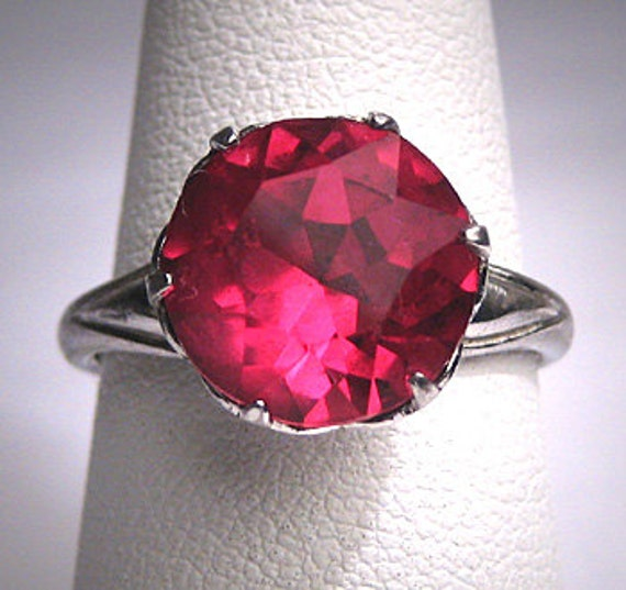 Antique Ruby Ring Victorian Art Deco Vintage Silve