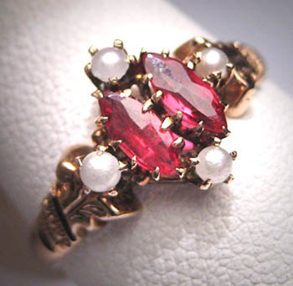 Antique Ruby Pearl Ring Victorian Gold Vintage Wed