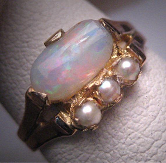 Antique Victorian Australian Opal Pearl Ring Weddi