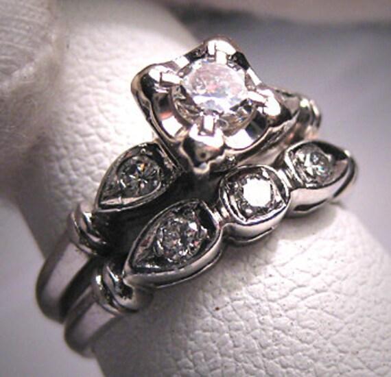 Antique Platinum Wedding Ring Set Vintage Art Deco Band Etsy