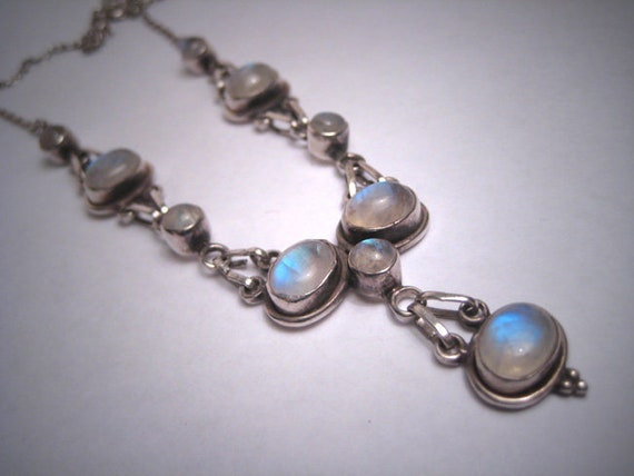 Vintage Moonstone Necklace Victorian Festoon Style