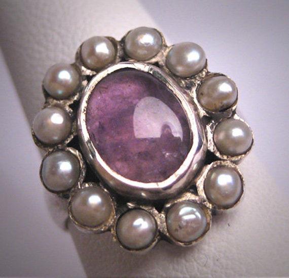 Vintage Victorian Amethyst Seed Pearl Ring Wedding