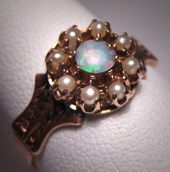 Antique Opal Ring Vintage Victorian Pearl Wedding