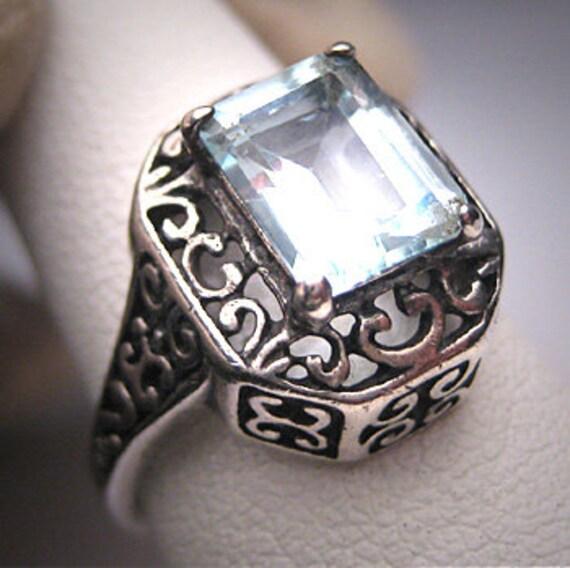 Vintage Aquamarine Ring Victorian Filigree Wedding