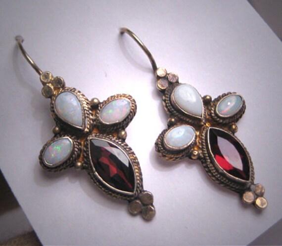 Vintage Australian Opal Garnet Earrings Victorian