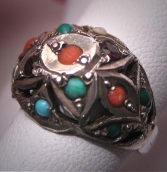 Antique Coral Turquoise Garnet Ring Vintage Victor