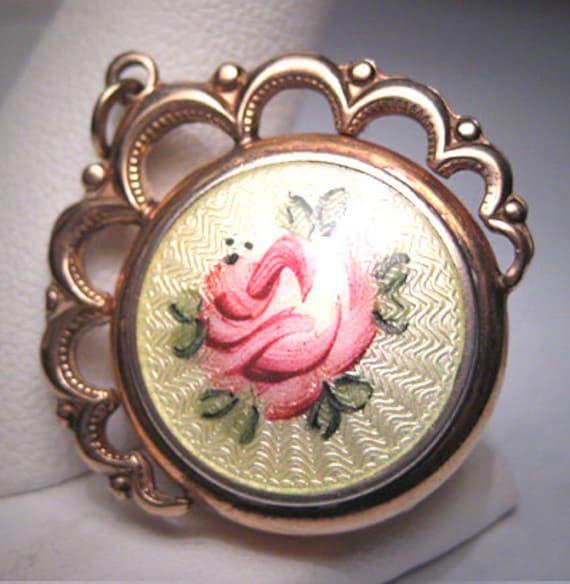 Antique Enamel Locket Pendant for Necklace Gold Vi