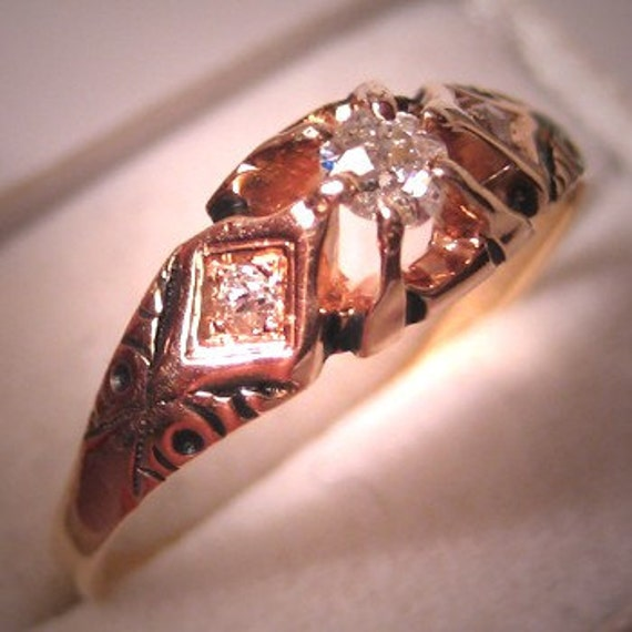 Antique Diamond Wedding Ring Vintage Victorian Gol