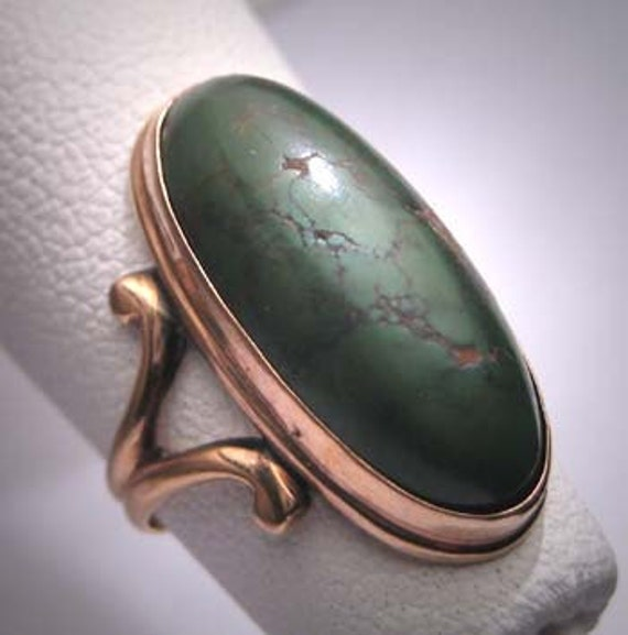 Antique Turquoise Rose Gold Ring Victorian Vintage