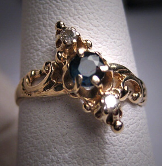 Antique Sapphire Diamond Ring Wedding Vintage Vict