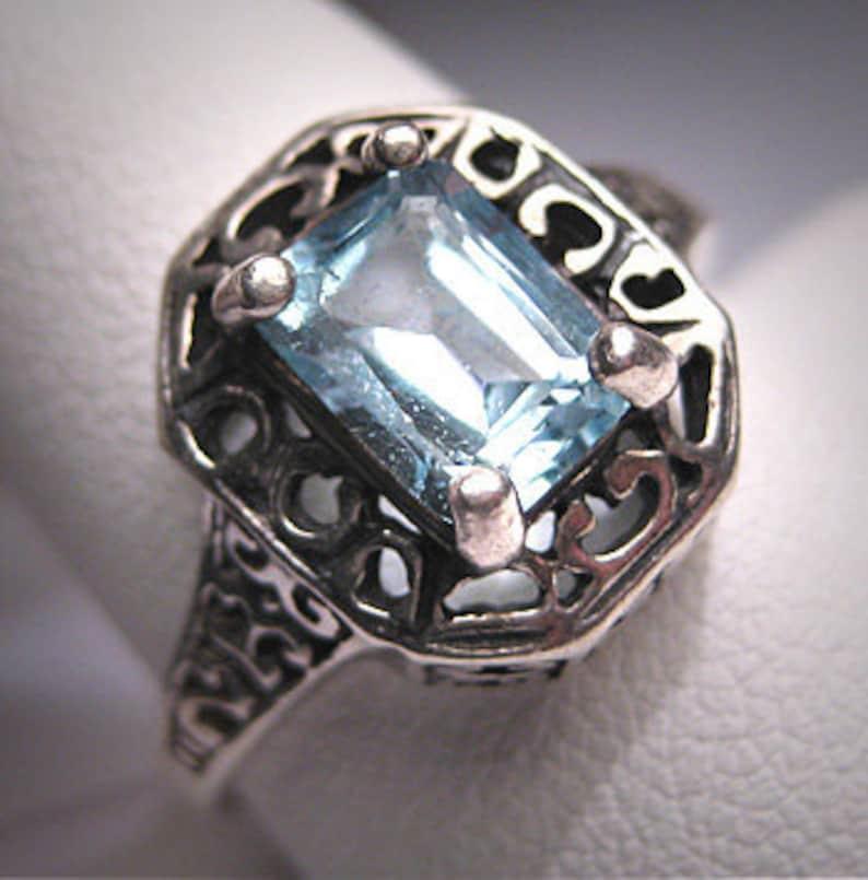 Vintage Blue Topaz Ring Victorian Filigree Art Deco
