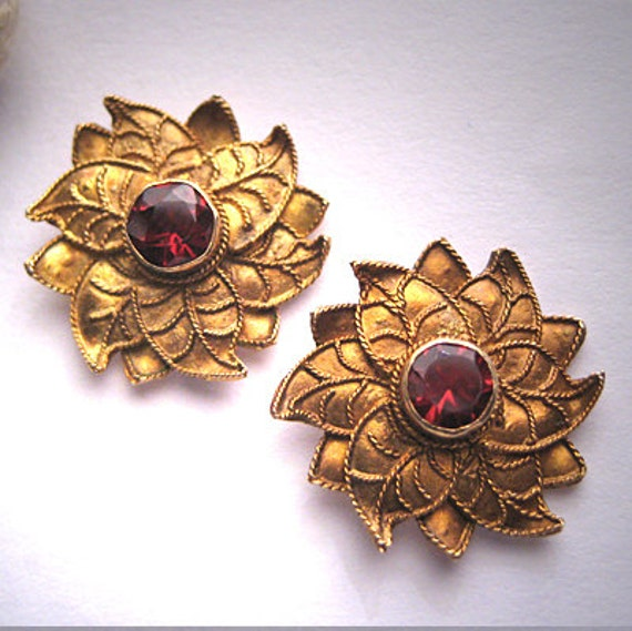 Vintage Garnet Earrings Victorian Art Nouveau Revi