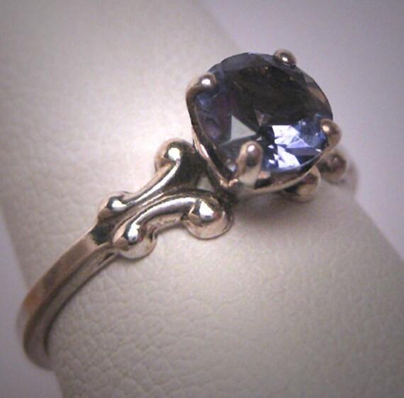 Vintage Victorian Iolite Ring Wedding Art Deco Sol