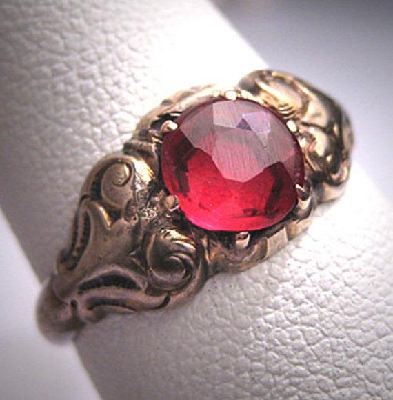 Antique Ruby Wedding Ring Vintage Victorian Georgi