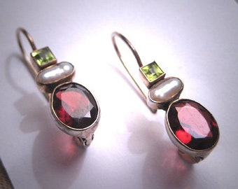 Vintage Peridot Garnet Pearl Earrings Victorian Drop Style
