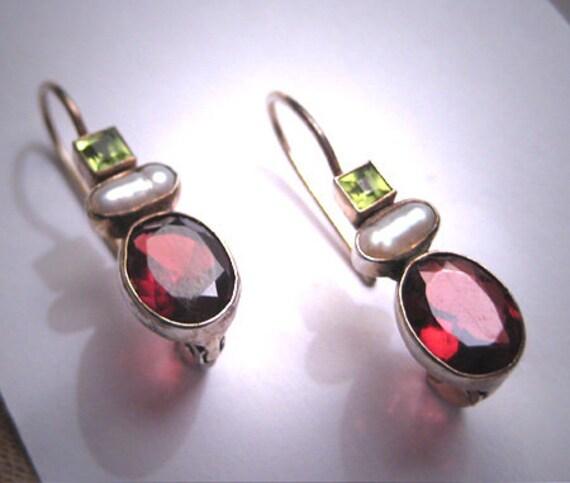Vintage Peridot Garnet Pearl Earrings Victorian Dr
