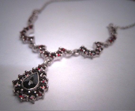 Vintage Garnet Necklace Victorian Drop Silver Euro