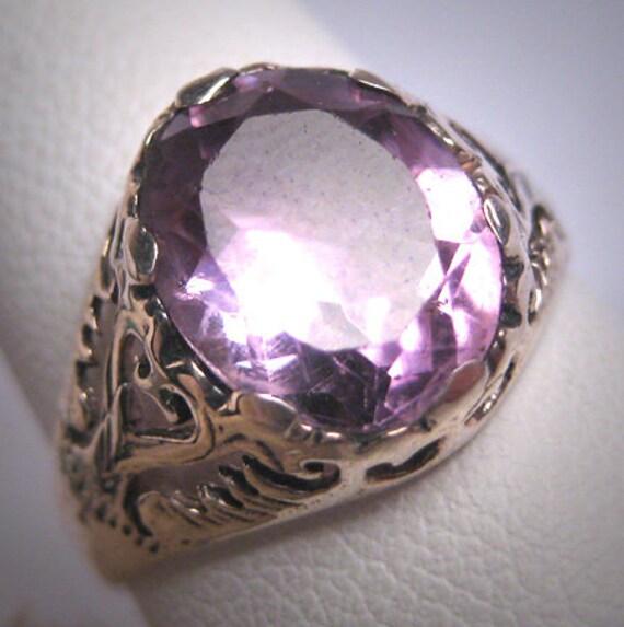 Vintage Victorian Amethyst Wedding Ring Filigree D