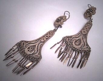 Antique Silver Earrings Oaxaca Mexican Vintage Art Deco 1930