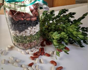 NEW Soup Mix - Five Bean Vegetable Soup in a jar, vegan, no salt