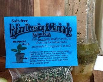 Salt-free Italian Dressing, Hand-blended dry herb seasoning mix, gluten free, salt free