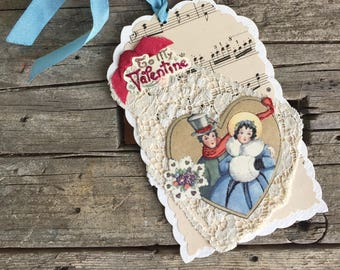 Handmade Vintage Style Valentine, Gift Tag, Multimedia Tag, Victorian Couple